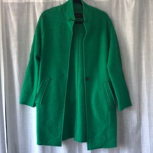 Zara Green Cocoon Coat with Draped Belt